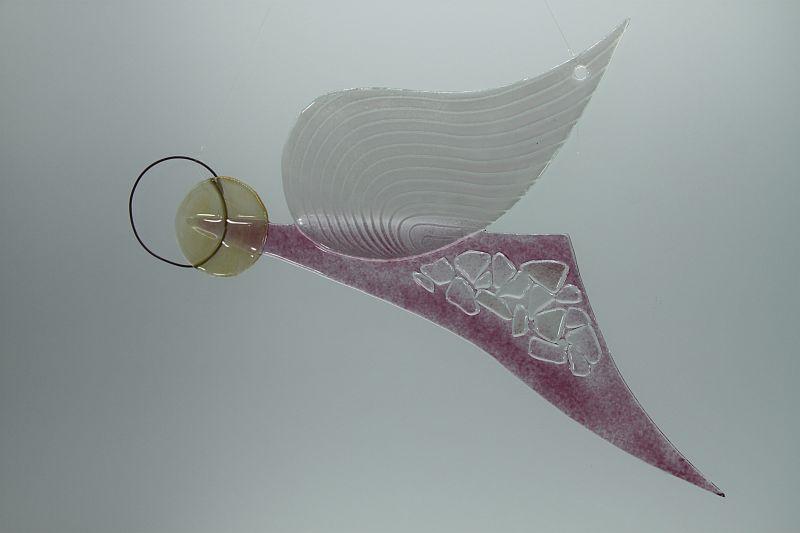 Glasengel Engel Flug Kristall rosa 2