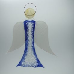 Glasengel Engel groß Kristall blau 2