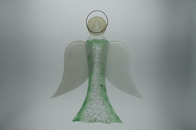 Glasengel Engel groß Kristall grün 3