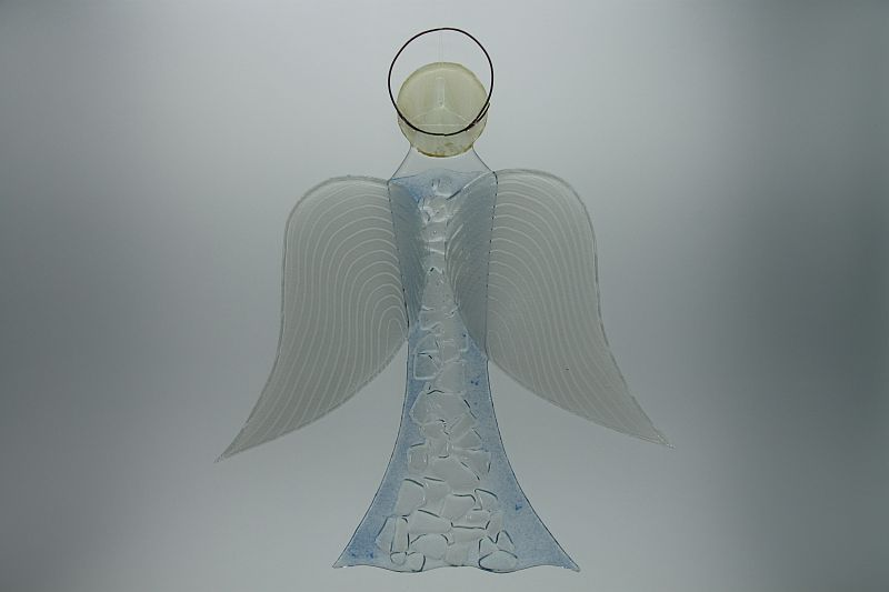 Glasengel Engel groß Kristall hellblau 3