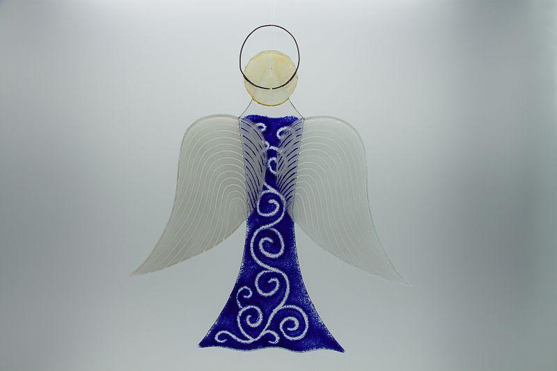 Glasengel Engel groß dunkelblau barock 1 3