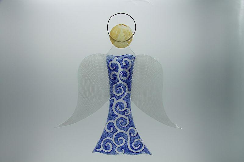 Glasengel Engel groß dunkelblau barock 2 1