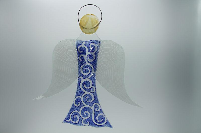 Glasengel Engel groß dunkelblau barock 2 2