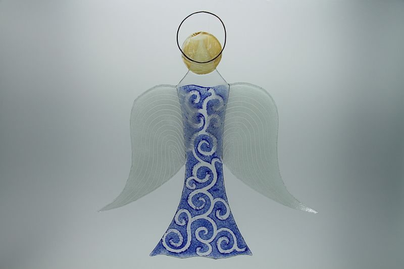 Glasengel Engel groß dunkelblau barock 2 3