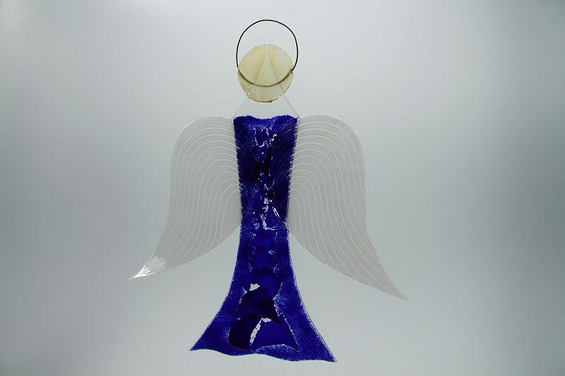 Glasengel Engel groß dunkelblau blau 1 2