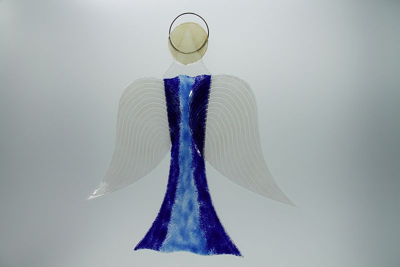 Glasengel Engel groß dunkelblau blau 2 2