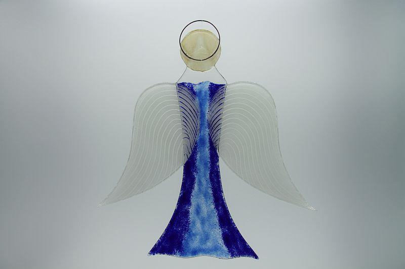 Glasengel Engel groß dunkelblau blau 2 3