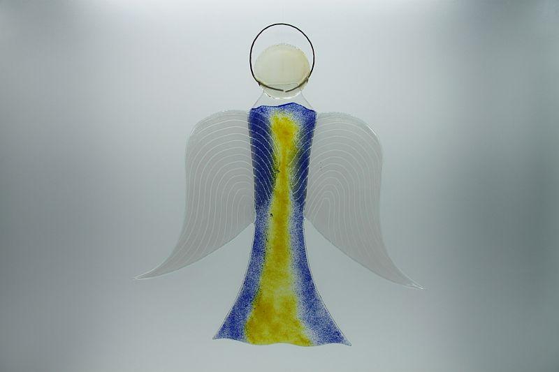 Glasengel Engel groß dunkelblau gelb 1