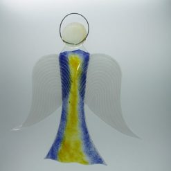 Glasengel Engel groß dunkelblau gelb 2