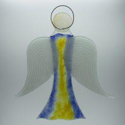 Glasengel Engel groß dunkelblau gelb 3