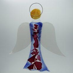 Glasengel Engel groß dunkelblau rose 2