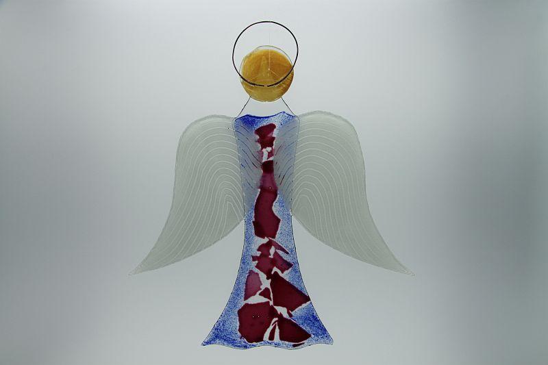 Glasengel Engel groß dunkelblau rose 3