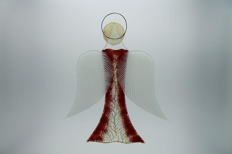 Glasengel Engel groß dunkelrot Baum 1 2
