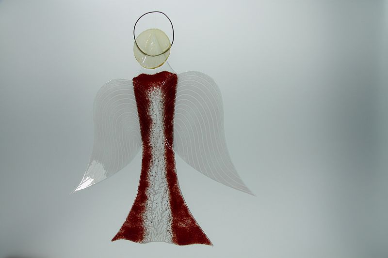 Glasengel Engel groß dunkelrot Baum 3 2