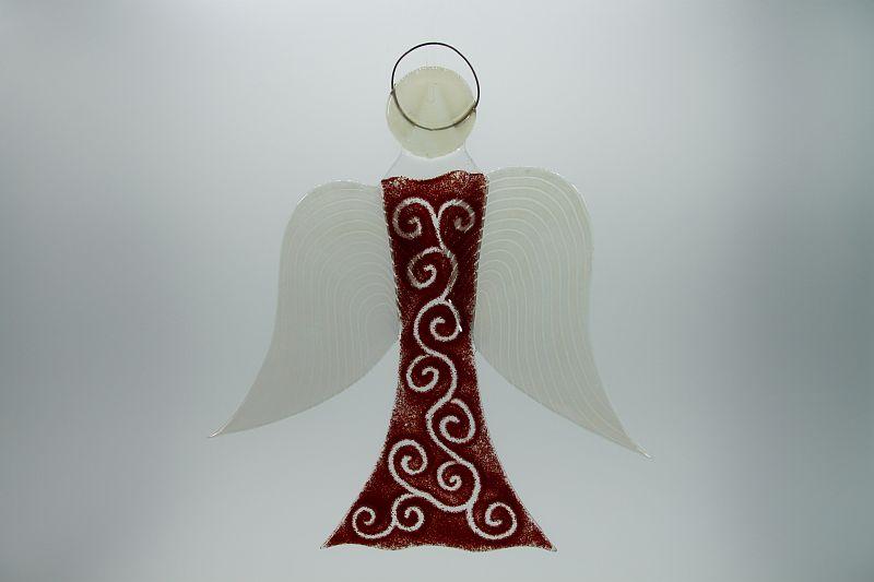Glasengel Engel groß dunkelrot barock 1
