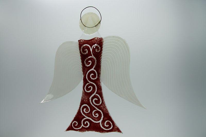 Glasengel Engel groß dunkelrot barock 2