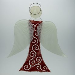 Glasengel Engel groß dunkelrot barock 3