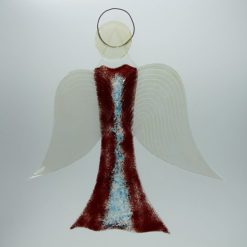 Glasengel Engel groß dunkelrot blau 2
