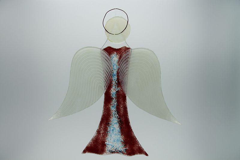 Glasengel Engel groß dunkelrot blau 3