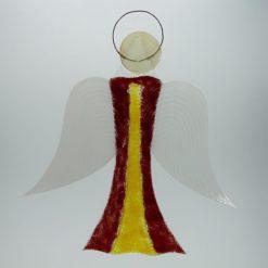 Glasengel Engel groß dunkelrot gelb 1