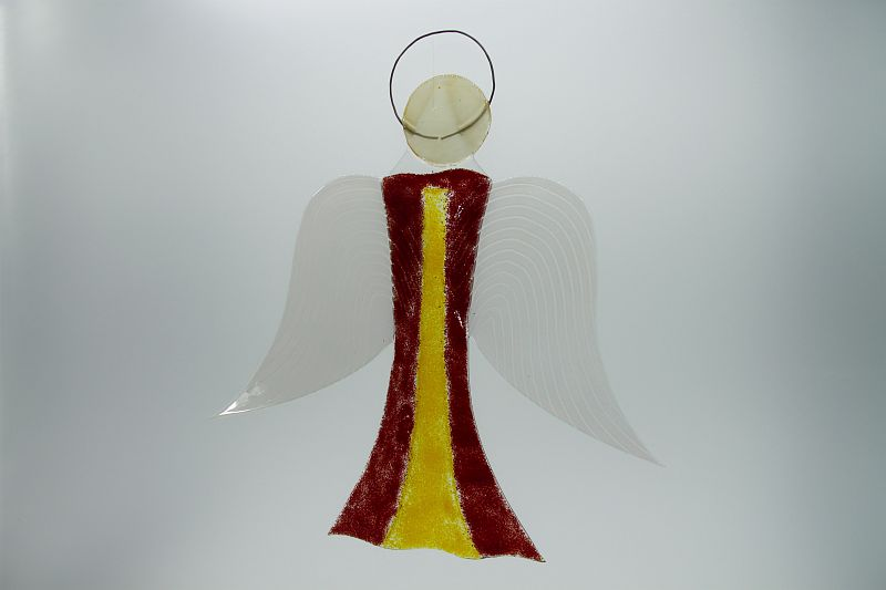 Glasengel Engel groß dunkelrot gelb 2