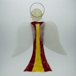 Glasengel Engel groß dunkelrot gelb 3