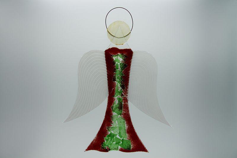 Glasengel Engel groß dunkelrot grün 1 1