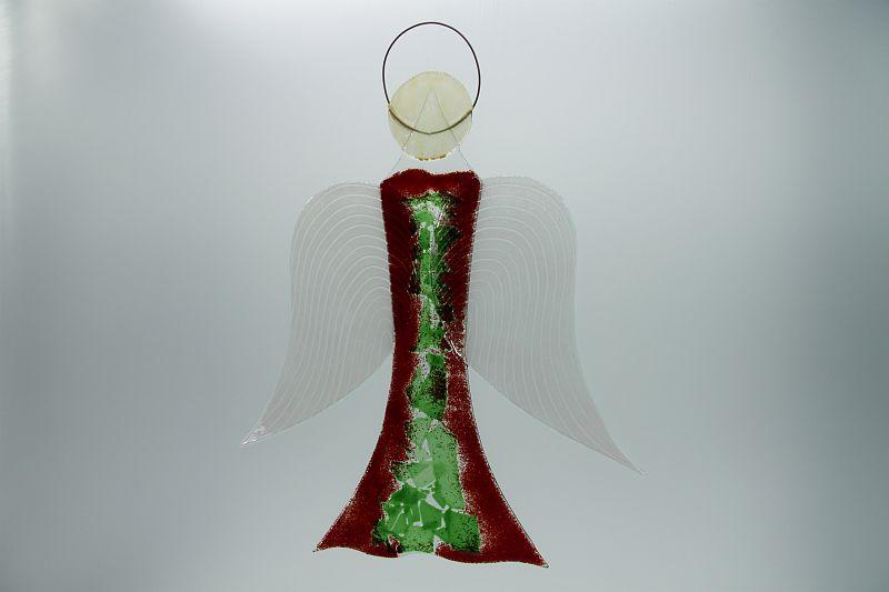 Glasengel Engel groß dunkelrot grün 1 2