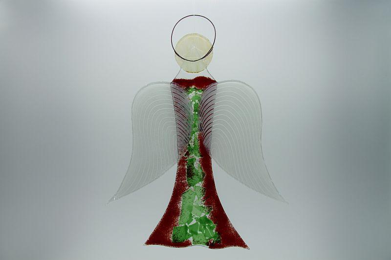 Glasengel Engel groß dunkelrot grün 1 3