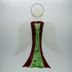 Glasengel Engel groß dunkelrot grün 2 1