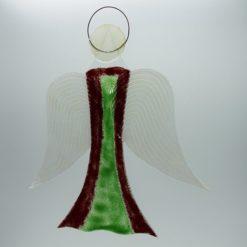 Glasengel Engel groß dunkelrot grün 2 2