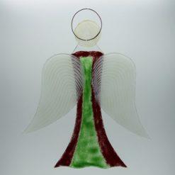 Glasengel Engel groß dunkelrot grün 2 3