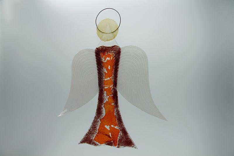 Glasengel Engel groß dunkelrot orange 2