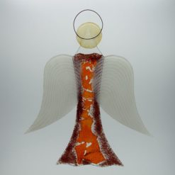 Glasengel Engel groß dunkelrot orange 3