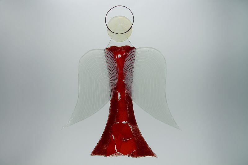 Glasengel Engel groß dunkelrot rot 2 3