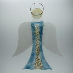 Glasengel Engel groß hellblau Baum 1