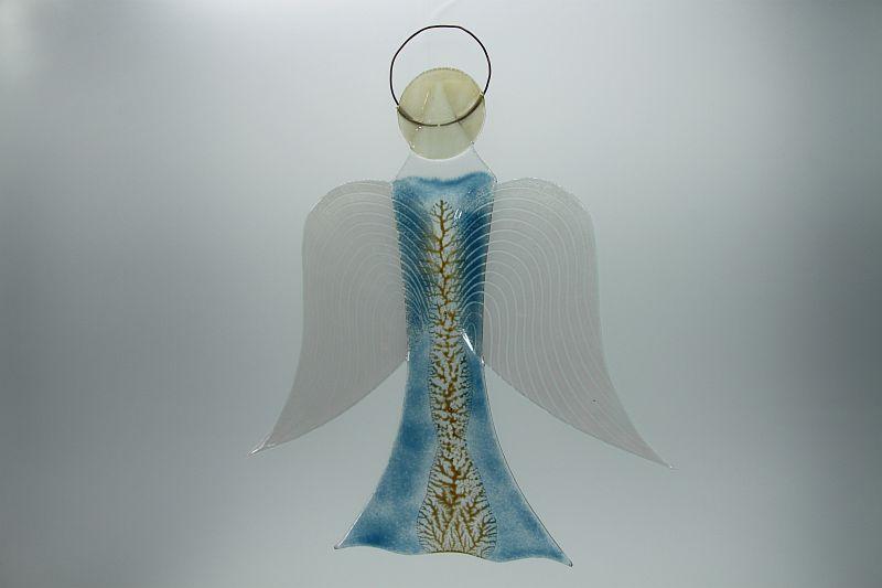 Glasengel Engel groß hellblau Baum 2