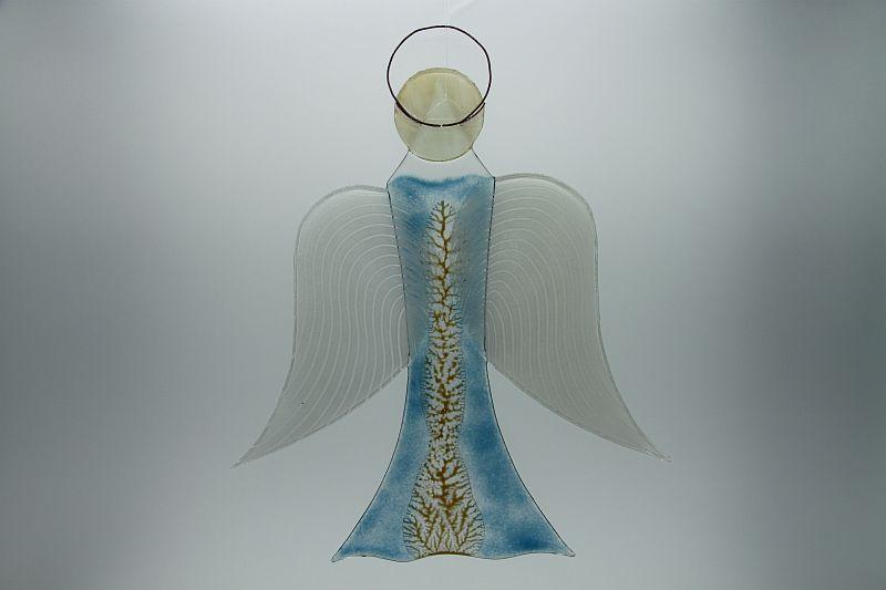 Glasengel Engel groß hellblau Baum 3