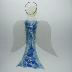 Glasengel Engel groß hellblau blau 2