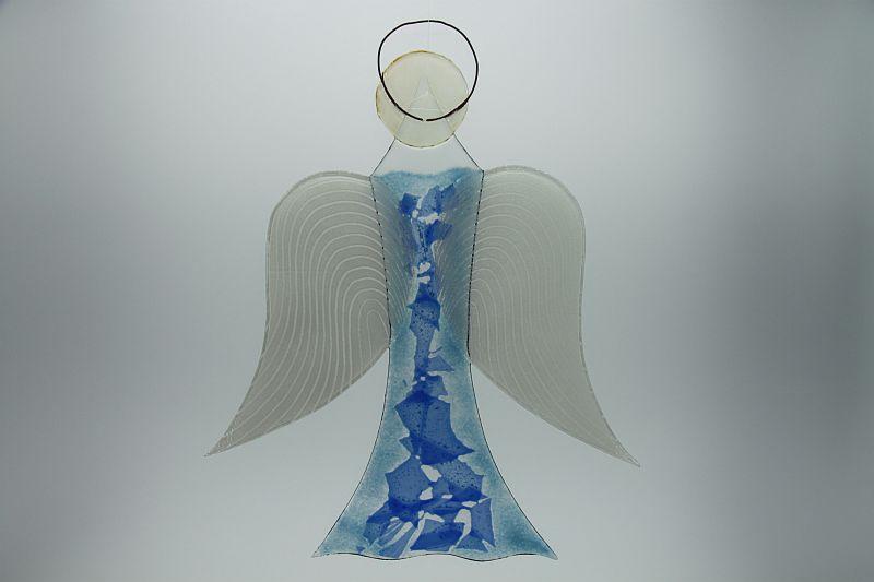 Glasengel Engel groß hellblau blau 3
