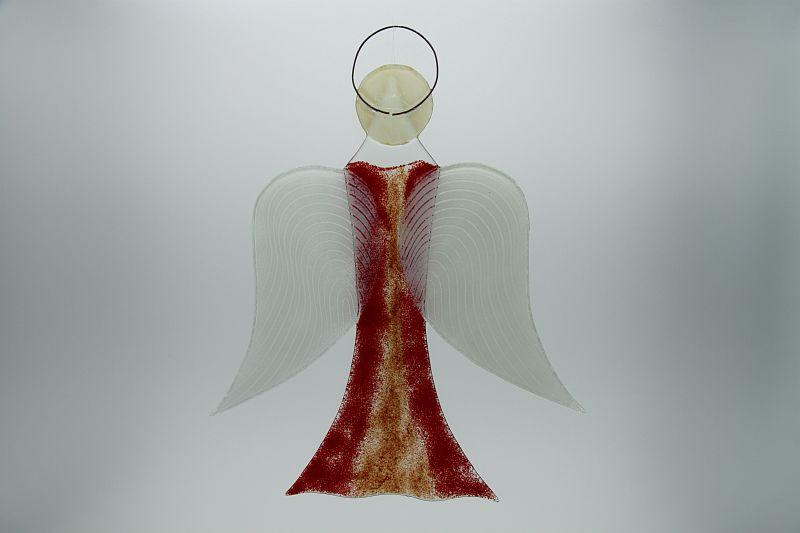 Glasengel Engel groß hellrot rot 2 3