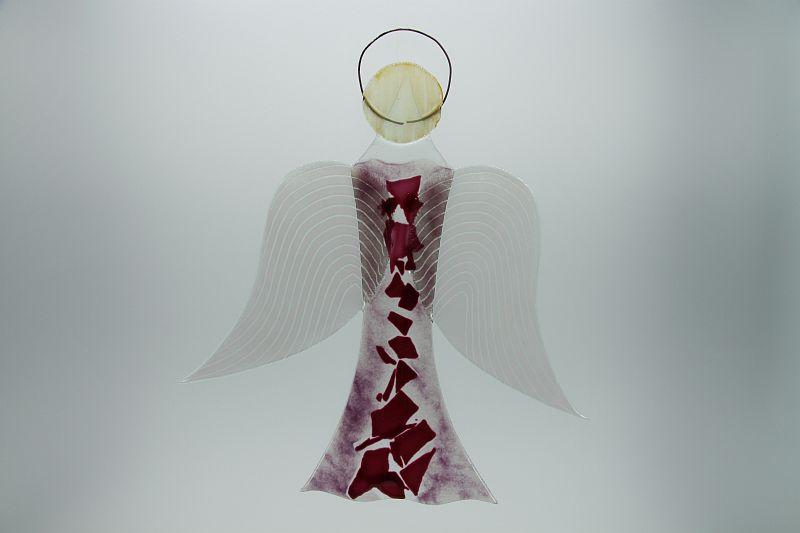 Glasengel Engel groß rose Baum rose 1