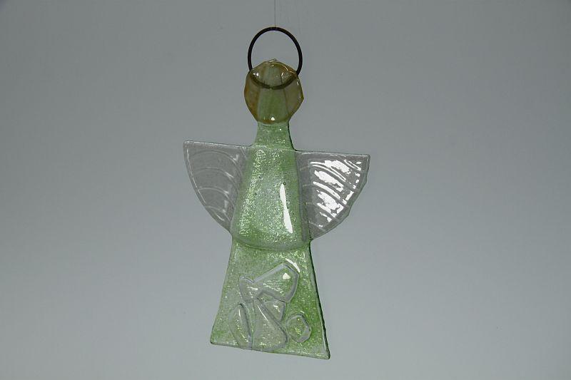 Glasengel Engel klein Kristall Grün 3