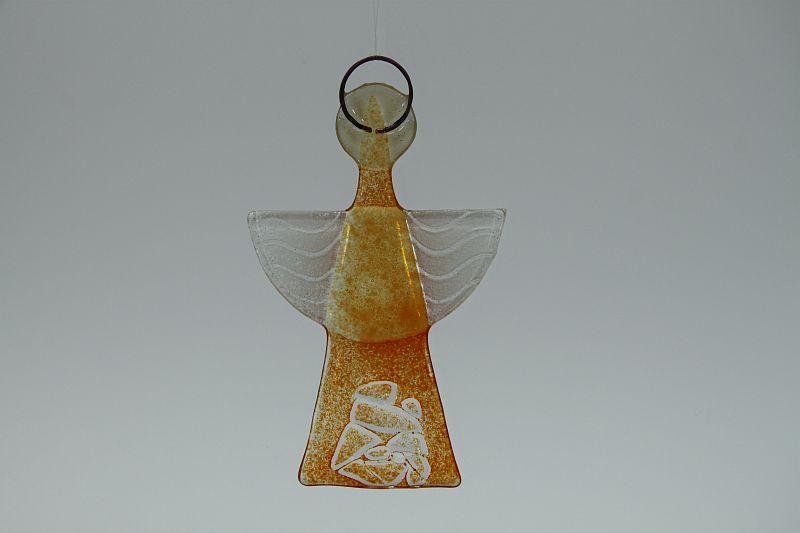 Glasengel Engel klein Kristall Orange 2