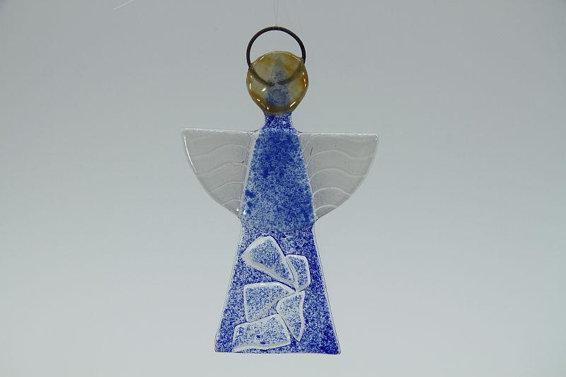 Glasengel Engel klein Kristall blau 1