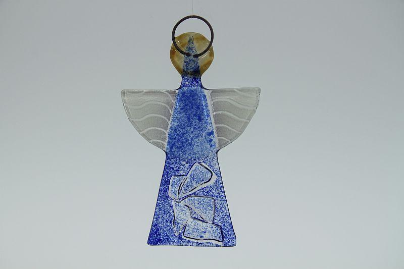 Glasengel Engel klein Kristall blau 2