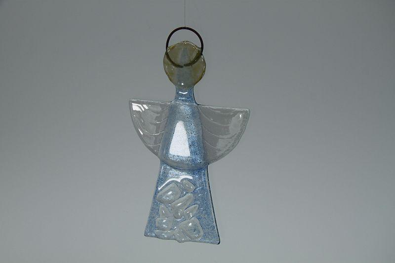 Glasengel Engel klein Kristall hellblau 3