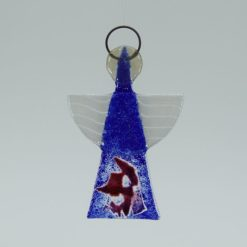 Glasengel Engel klein dunkelblau rose 1