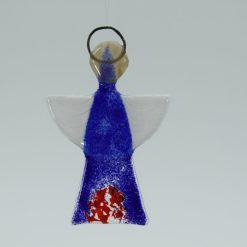 Glasengel Engel klein dunkelblau rot 1