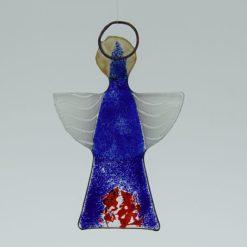 Glasengel Engel klein dunkelblau rot 2